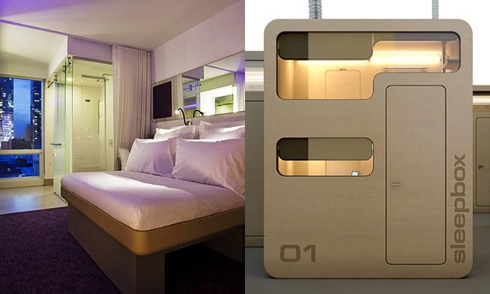 Yotel jenewyorský hotel srobotem iletištní kabiny