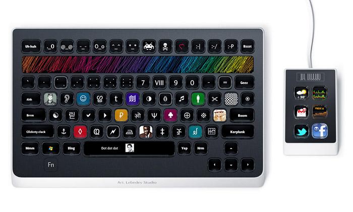 Optimus Popularis jerevoluční klávesnice sdispleji
