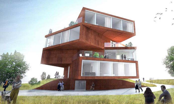 BIG postaví kroucený bytový dům stvarem sochy