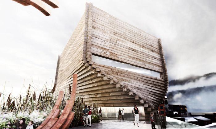 BIG postaví ze dřeva pootočené Kimball Art Center