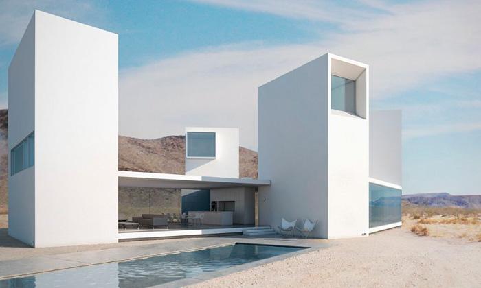 Pouštní vila Four Eyes House má čtyři různé výhledy