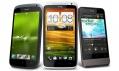 Trojice nových chytrých mobilních telefonů HTC S, HTC X aHTC V