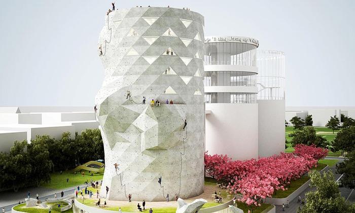NL Architects chtějí přestavět sila nalezecké stěny