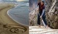 Andres Amador a ukázka jeho obrazců v písku