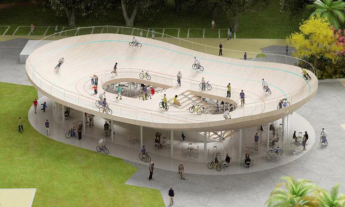 NL Architects postaví cyklo klub soválem nastřeše