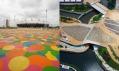 Barevné ztvárnění mostu od Heneghan Peng Architects v olympijském parku