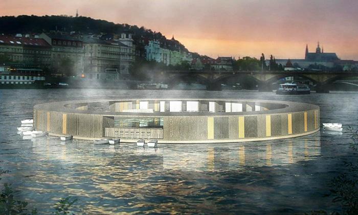 Tři architekti navrhli plovoucí koupaliště naVltavě
