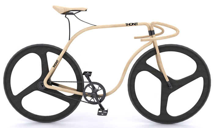 Andy Martin navrhl dřevěné silniční kolo pro Thonet