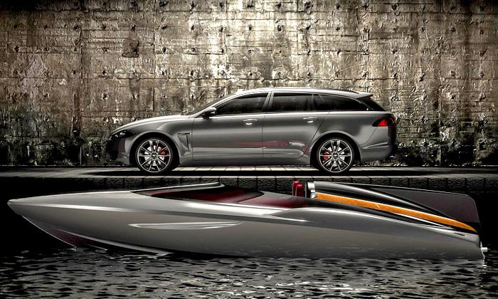 Jaguar ukázal vůz XF Sportbrake ačlun Speedboat