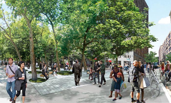 Hudson Square sezazelená avíce podmaní chodcům