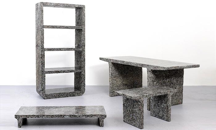 Jens Praet vytvořil sérii nábytku ze starého papíru