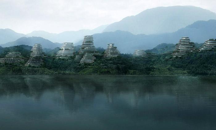 MAD staví vČíně horskou vesnici stvarem kopců