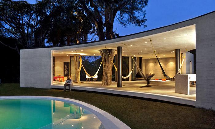 Tepoztlán nabízí rekreační dům prorostlý stromy