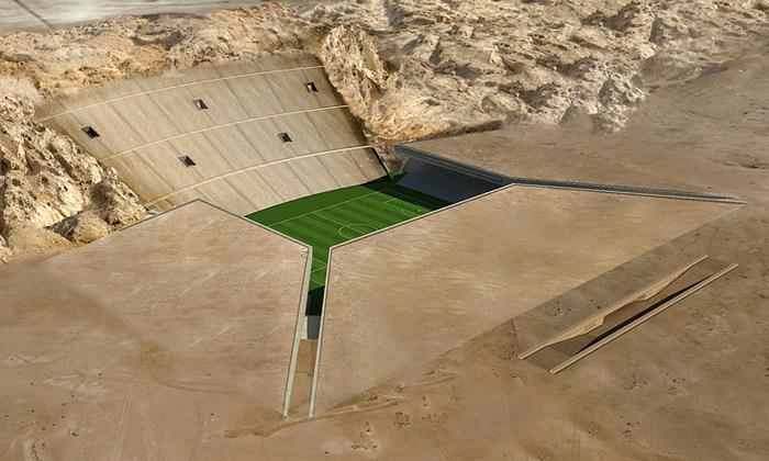Emiráty chtějí fotbalový stadion zapuštěný veskále