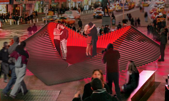 Valenstýnské srdce Heartwalk na newyorském Times Square od studia Situ
