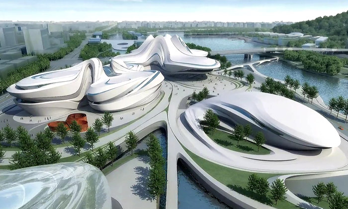 Changsha Meixihu International Culture & Art Centre od Zahy Hadid