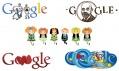 Google ajeho ilustrovaná loga Doodles sprvním animovaným uprostřed