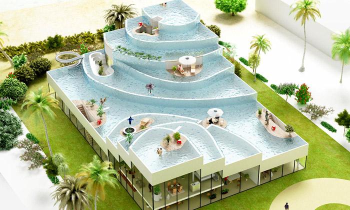 NL Architects navrhli vily sbazénem místo střechy