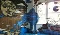 Pomalovaný dům vrámci Dulwich Festival zaměřeného naq street art