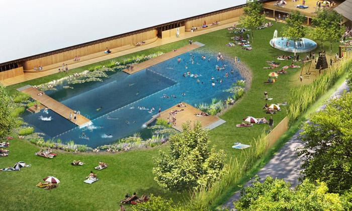 Herzog & de Meuron staví velké přírodní koupaliště