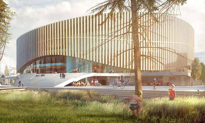 3XN staví Kodani vlnitou arénu obloženou terakotou