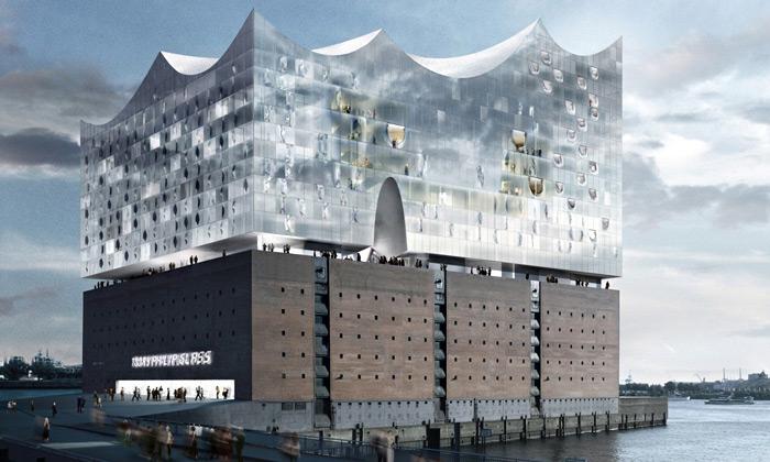 Hamburk staví koncertní halu jako zvlněnou hladinu