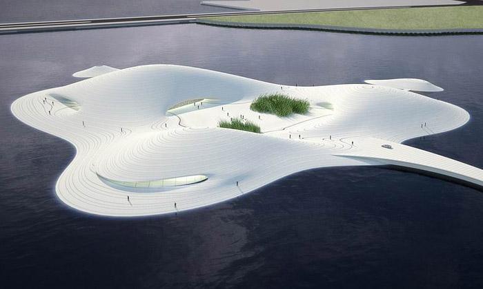 MAD staví vČíně bílé plovoucí Pingtan Art Museum