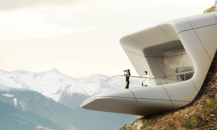 Zaha Hadid staví Messnerovo muzeum naKronplatzu