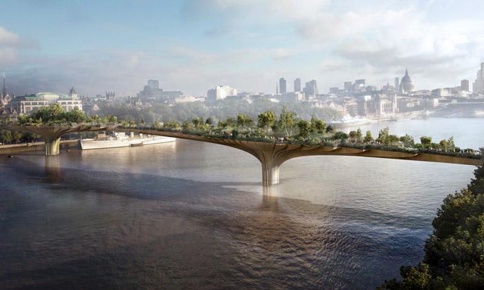 Londýnský most pro pěší The Garden Bridge se zahradou od Heatherwick Studio