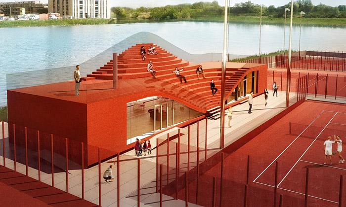 MVRDV staví tenisový klub sintegrovanou tribunou