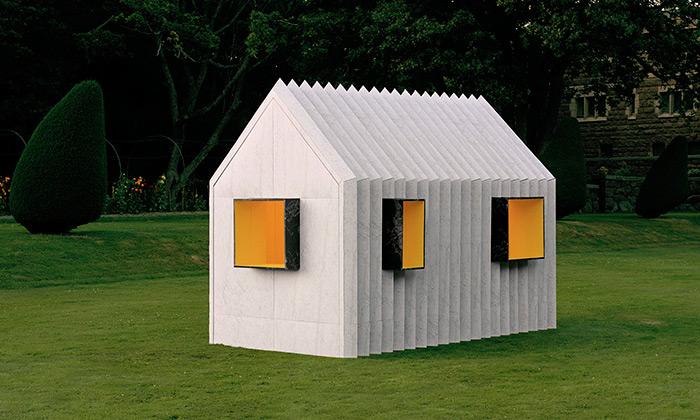 Chameleon Cabin jemalý černobílý domek zpapíru