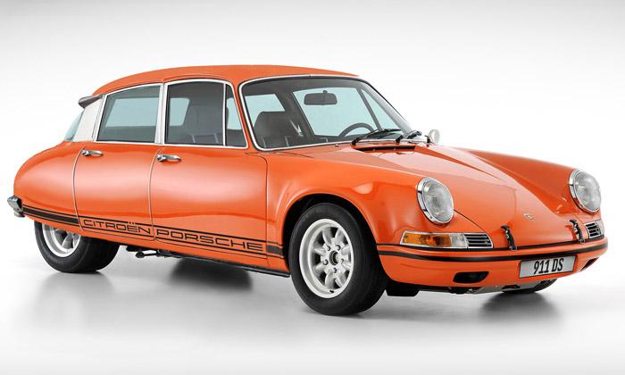 Porsche 911 aCitroën DS spojeni vmodel 911DS
