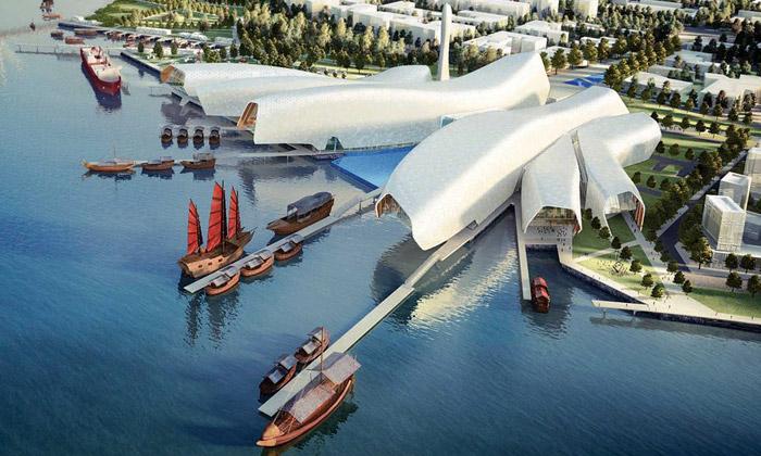 Čína postaví námořní muzeum jako pětici chapadel