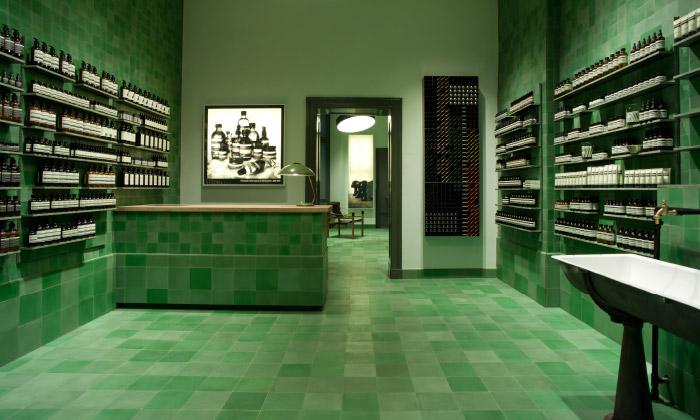 Obchod kosmetiky Aesop jeinspirován Bauhausem