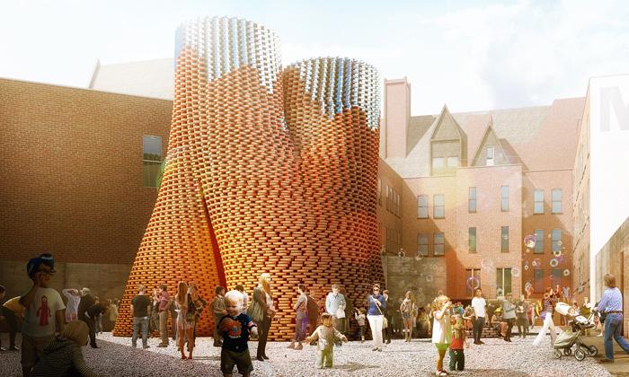MoMA PS1 postaví nanádvoří věž zcihel zkukuřice