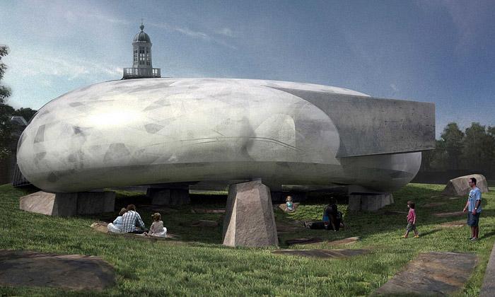 Pavilon Serpentine Gallery dostane tvar bílé fazole