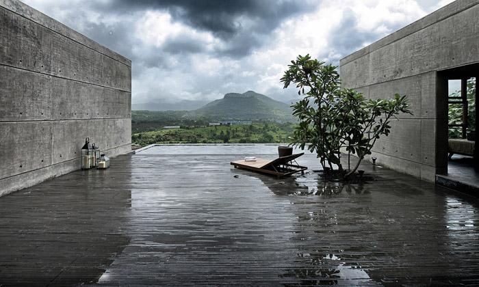 Indická vila zbetonu ačediče chrání před monzuny