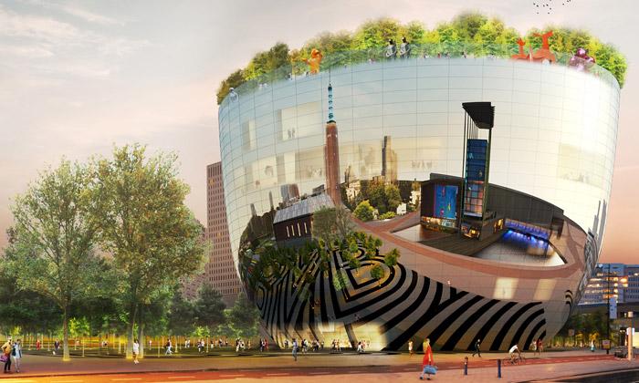 MVRDV staví Rotterdamu muzeum nerezovou mísu