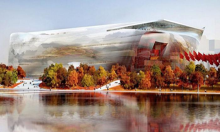 Jean Nouvel staví vČíně muzeum jako čirý kámen