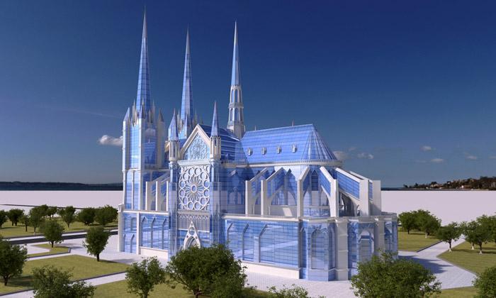 Rus navrhl katedrálu Notre-Dame ze skla aoceli
