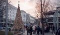 Vánoční strom z dřevěných polen v Budapešti od Hello Wood