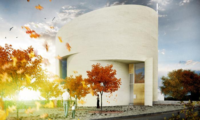 Sazovice si postaví nový kostel jako papírový smotek