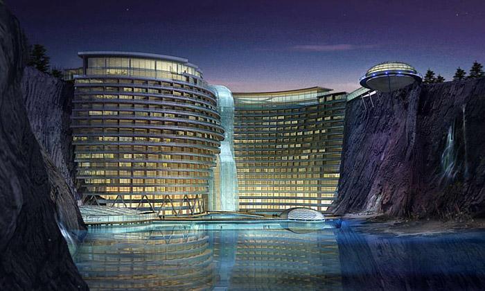 V čínském lomu sestaví luxusní hotel svodopádem