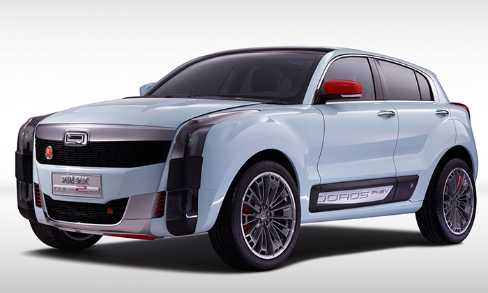 Qoros 2 SUV PHEV jevize hybridního SUV doměsta