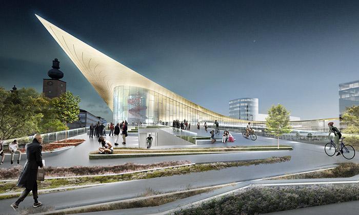 BIG staví veŠvédsku futuristické dopravní centrum