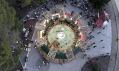 Veřejné lázně z fontány v mexickém městě Chihuahua