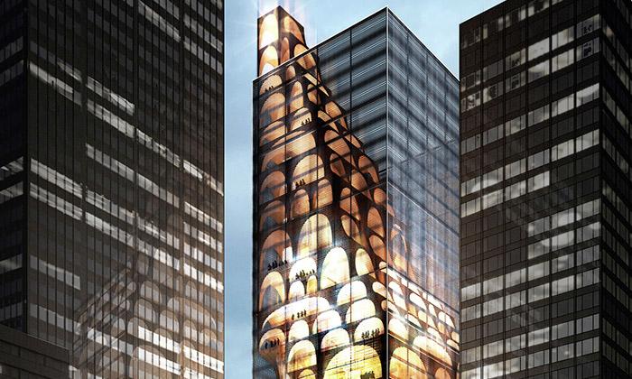 Skleněný mrakodrap Unveiled má dřevěné klenby