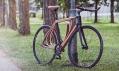 Niko Schmutz a jeho jízdní kolo s dřevěným rámem