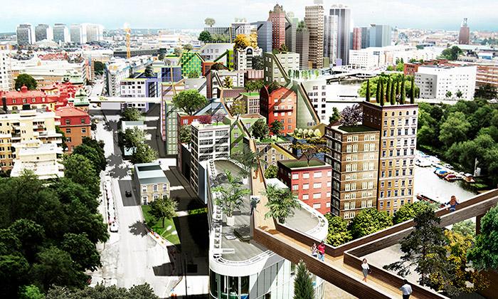 Stockholm plánuje bytové domy propojené mosty