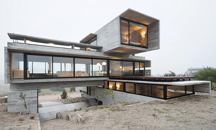 Casa Golf jeargentinská vila zpohledového betonu